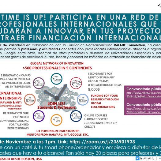 Programa de Mentorado Internacional IMFAHE. Lunes 26 Noviembre