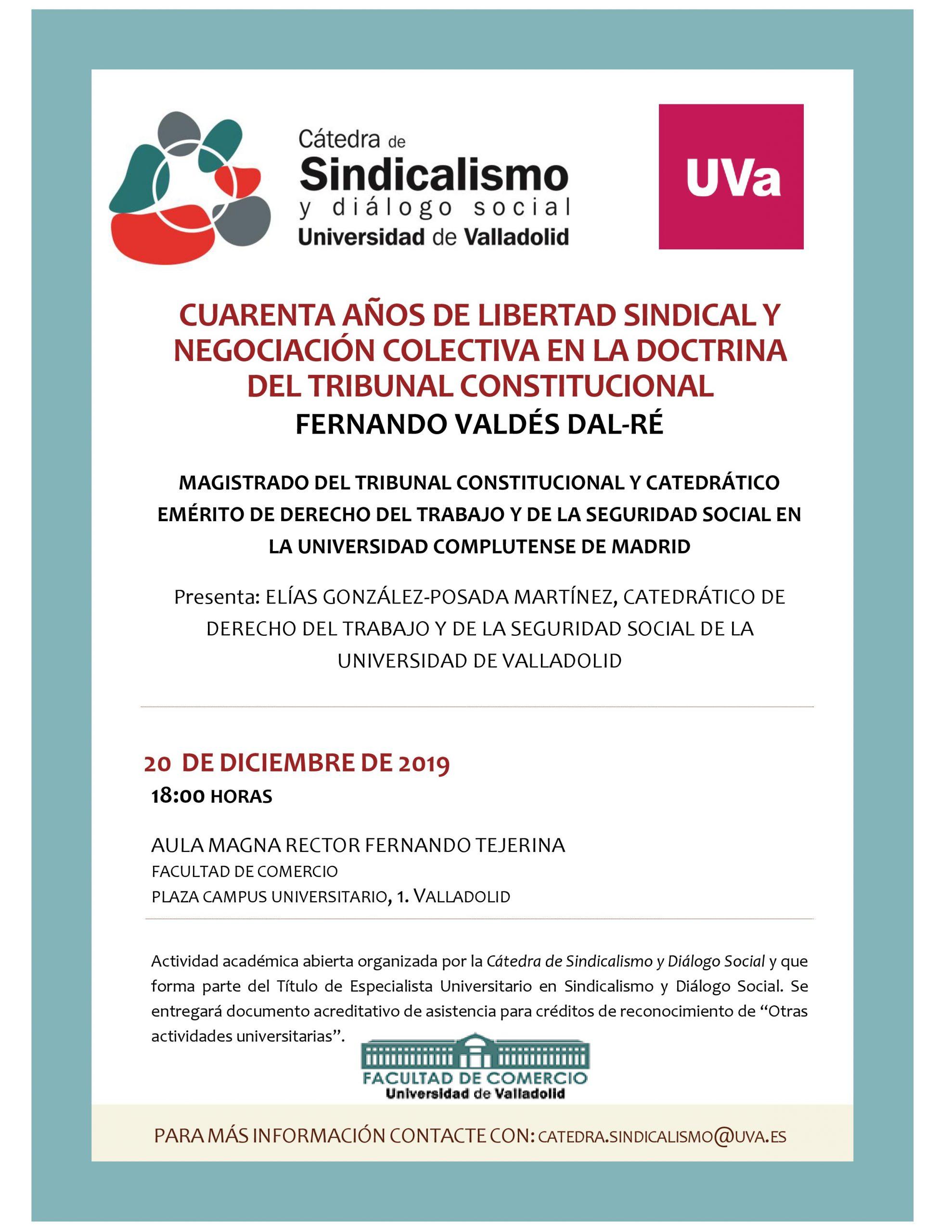 CONFERENCIA: Cuarenta años de libertad Sindical y Negociación colectiva en la doctrina del Tribunal Constitucional