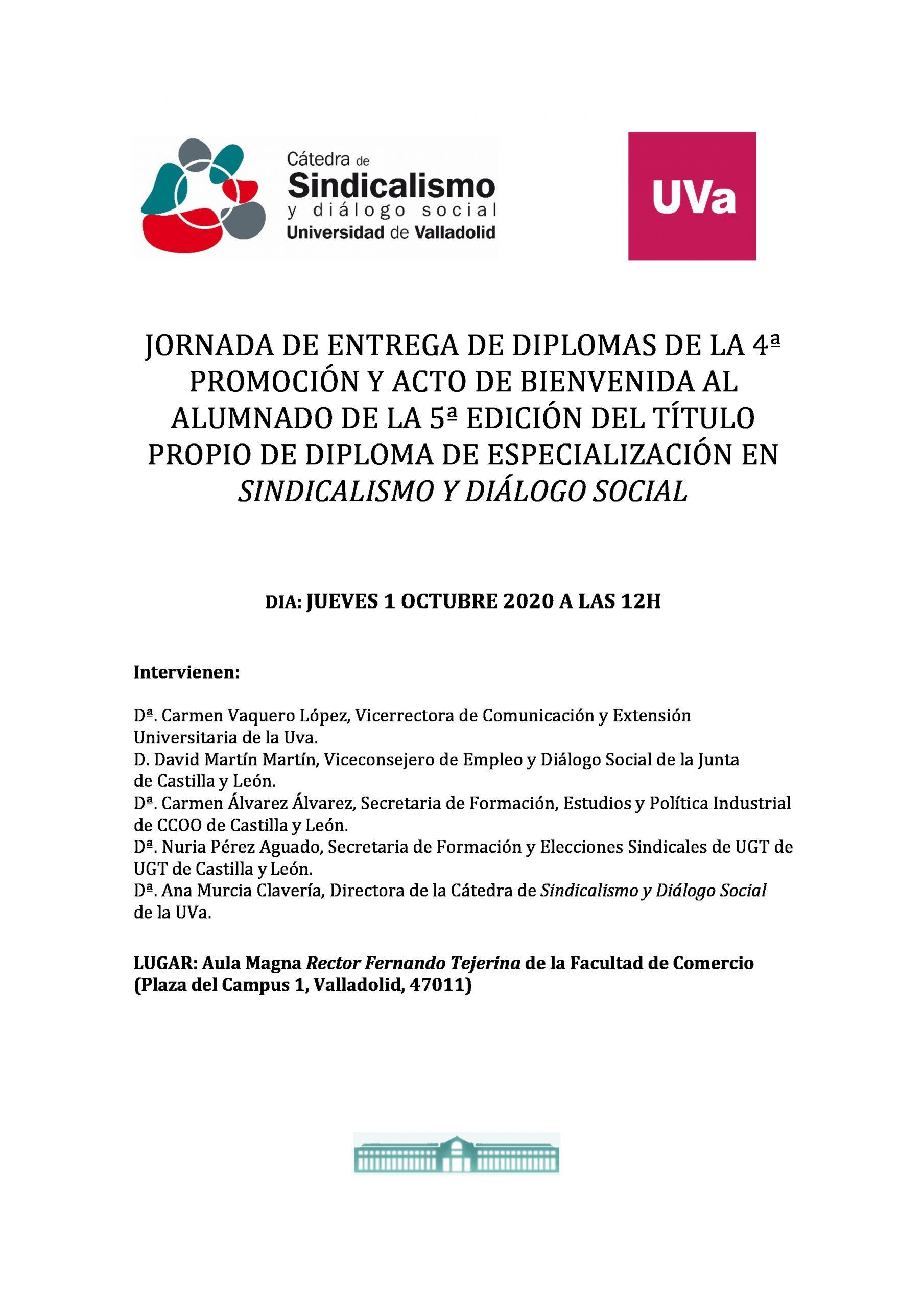 Entrega de Diplomas 4ª Promoción y acto bienvenida 5ª edición. Cátedra Sindicalismo