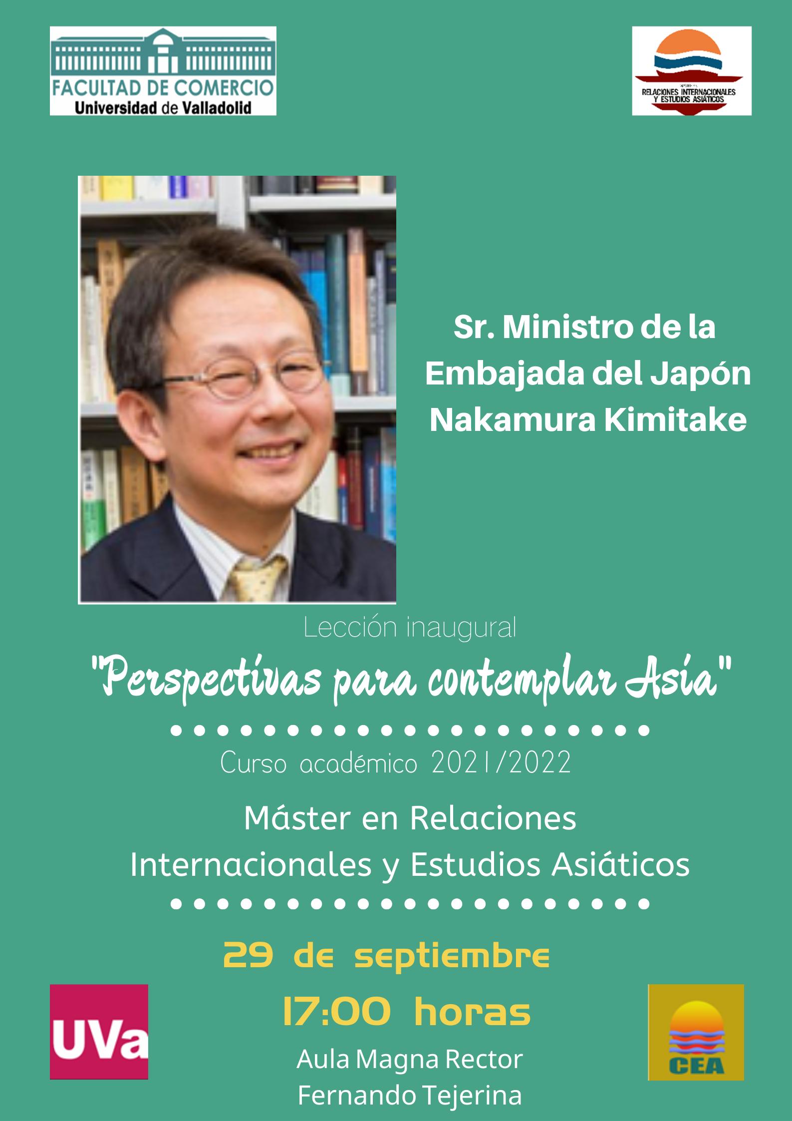 Lección inaugural (29 septiembre. 17:00): «PERSPECTIVAS PARA CONTEMPLAR ASIA». Máster en Relaciones Internacionales y Estudios Asiáticos.