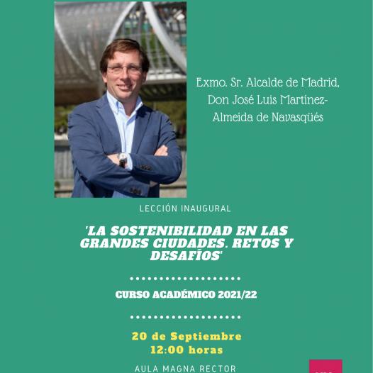 Lección inaugural (20 septiembre. 12:00): «LA SOSTENIBILIDAD EN LAS GRANDES CIUDADES. RETOS Y DESAFÍOS».